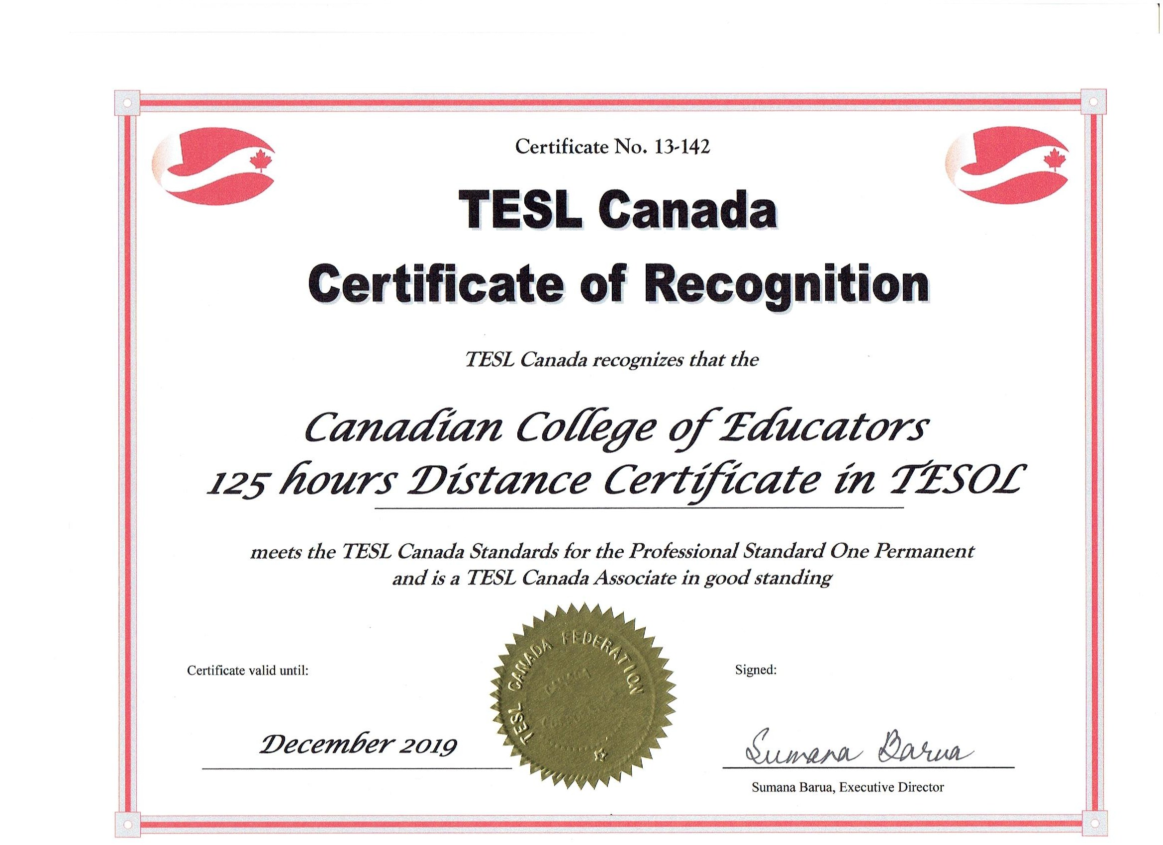 Canadian Tesol Certificate Program With Practicum 125 Hrs